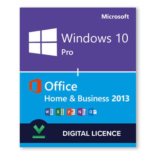 Windows 10 Pro + Microsoft Office 2013 Home & Business Bundle - Digital Licences