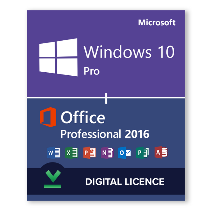 Windows 10 Pro 32bit and 64bit and Microsoft Office Professional 2016 bundle - download digital licence