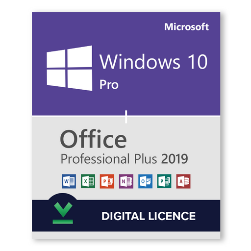 Windows 10 Pro 32bit and 64bit and Microsoft Office Professional Plus 2019 bundle - download digital licence