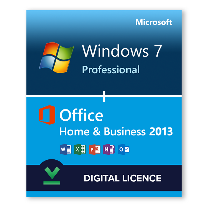 Windows 7 Professional SP1 32bit and 64bit and Microsoft Office Home & Business 2013 bundle - download digital licence
