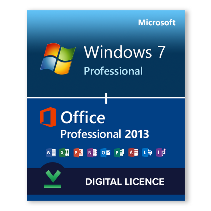 Windows 7 Professional SP1 32bit and 64bit and Microsoft Office Professional 2013 bundle - download digital licence