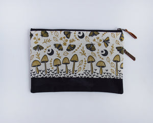 Double-Zipper Pouch - Mushrooms & Moths - large