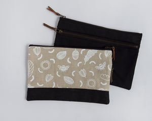 Double-Zipper Pouch - Sunny Day Neutral - large