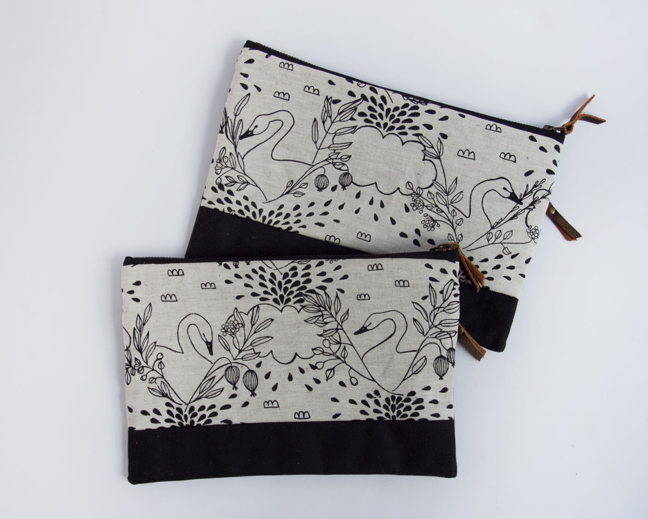 Double-Zipper Pouch - Swans - large