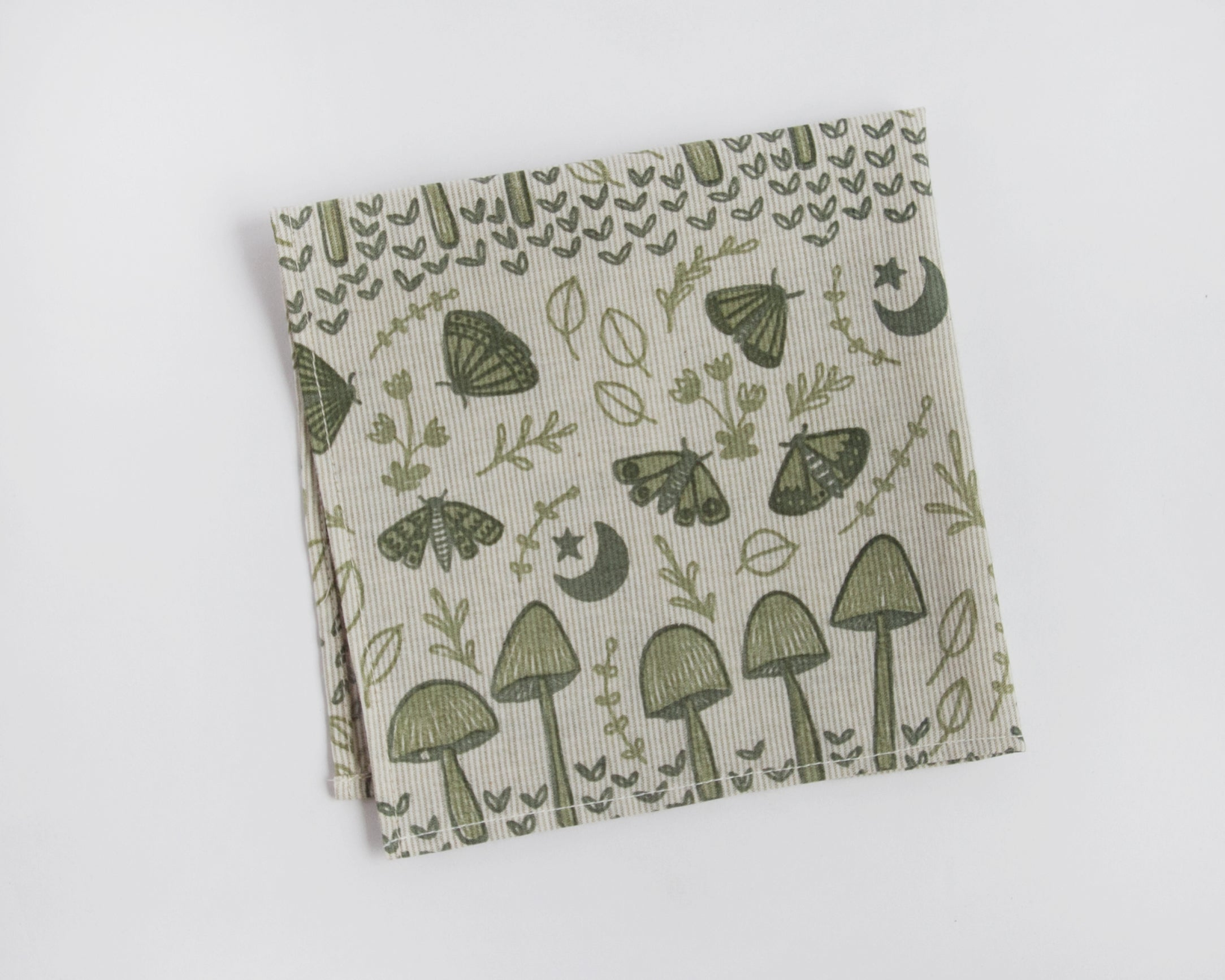 Organic Cotton Handkerchief - Mushrooms & Moths