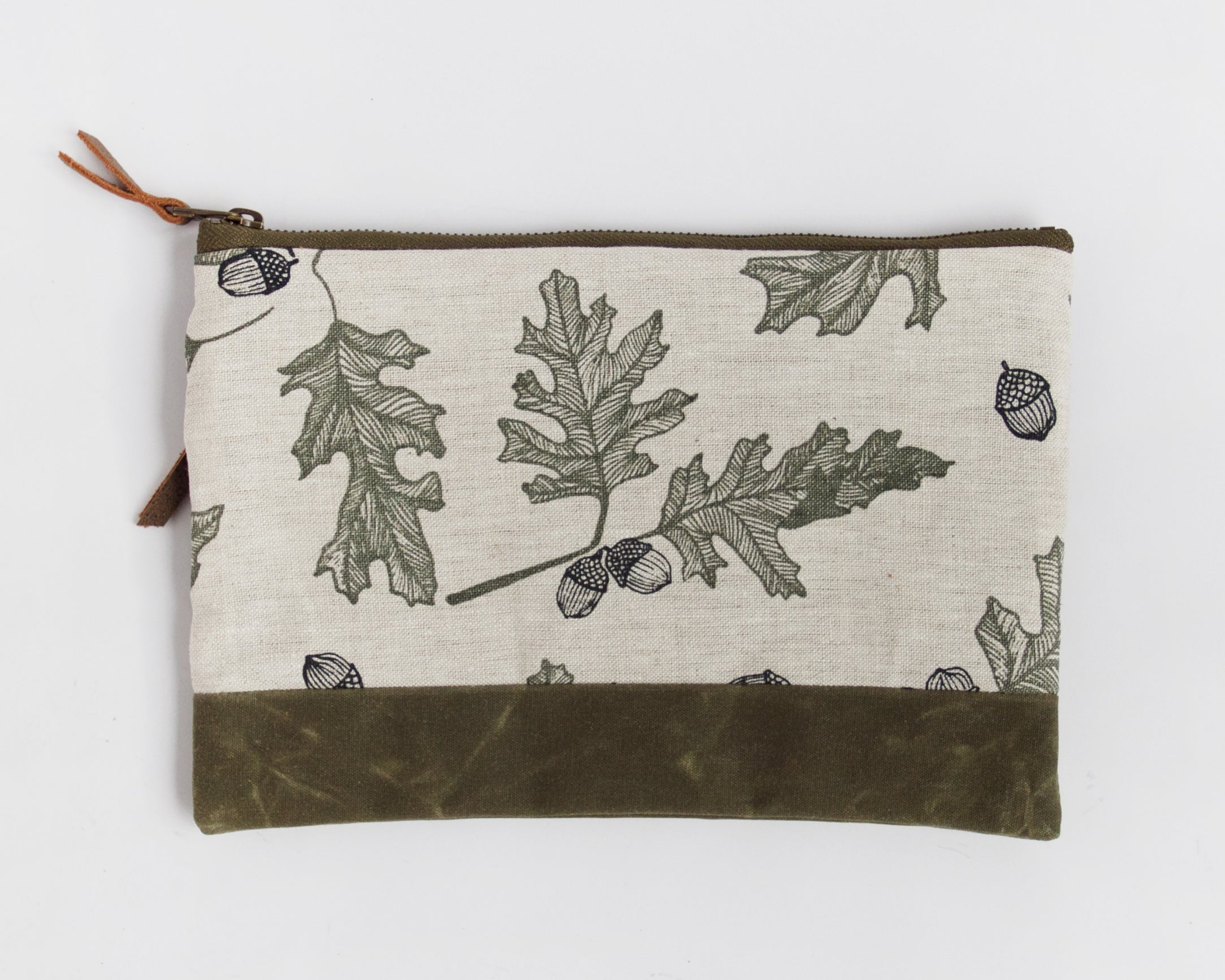 Large Double-Zipper Pouch -   Oak