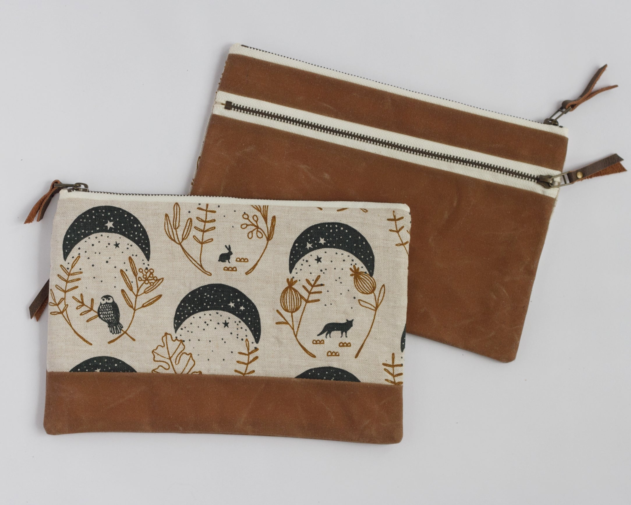 Double-Zipper Pouch - Moons