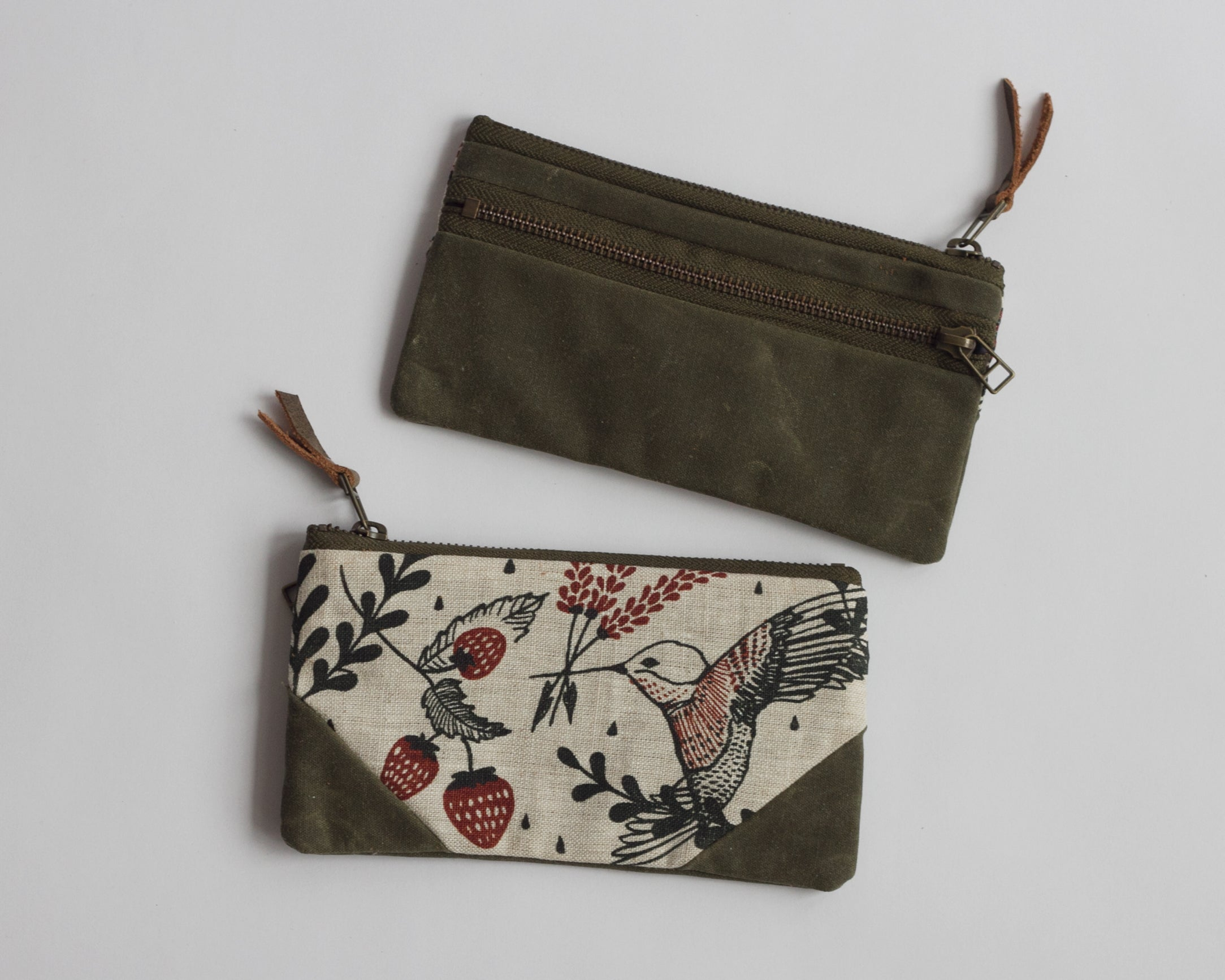 Double-Zipper Pouch - Hummingbirds - small