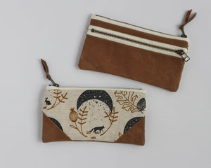 Double-Zipper Pouch - Moons - small