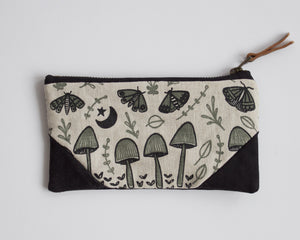Small Double-Zipper Pouch - Mushrooms and Moths - Seafoam
