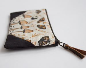 Small Double-Zipper Pouch - Mushrooms and Moths - coral