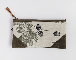 Small Double-Zipper Pouch - Oak