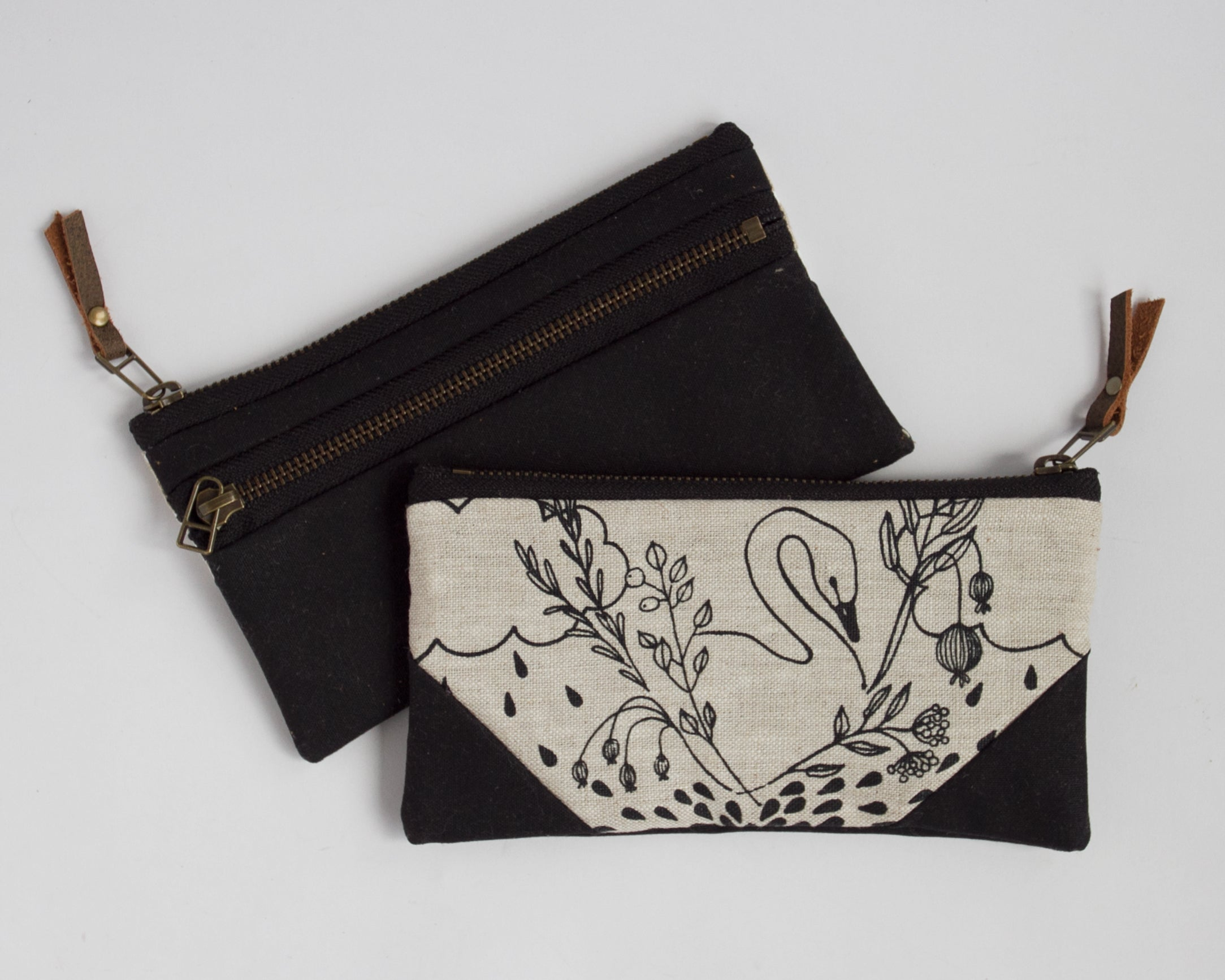 Small Double-Zipper Pouch - Swans