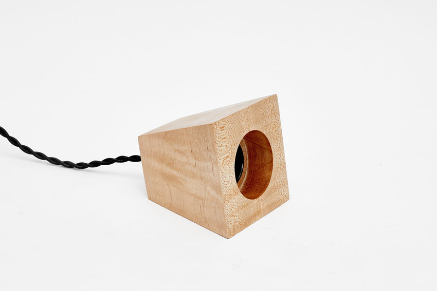 Blok Pendant Maple With Black Cord
