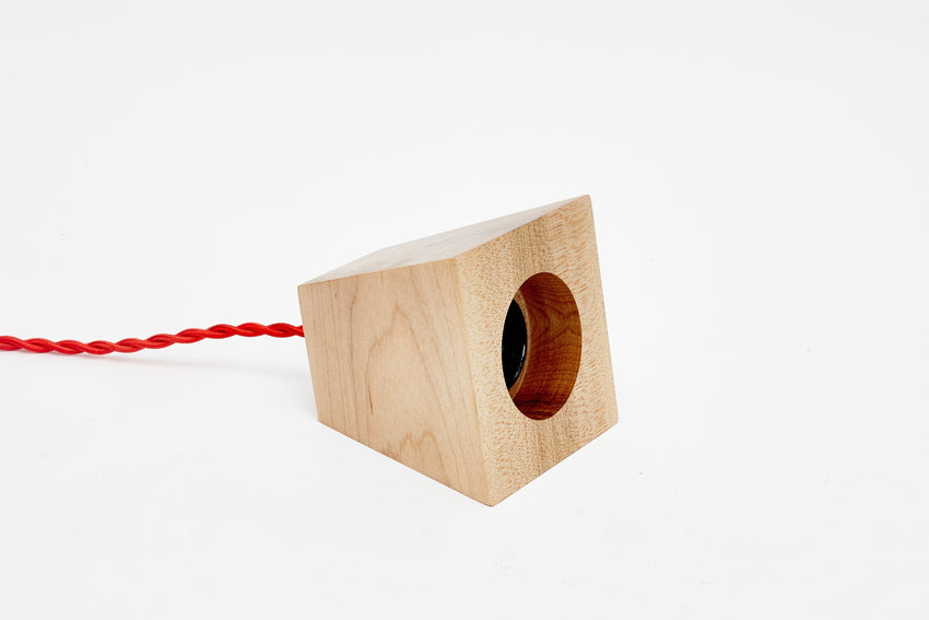 Blok Pendant Maple with Red Cord