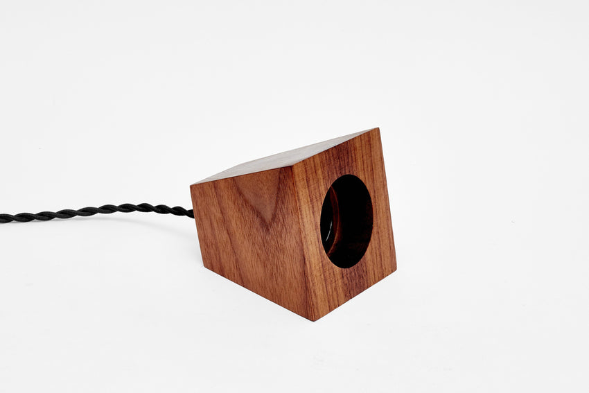 Blok Pendant Walnut with Black Cord