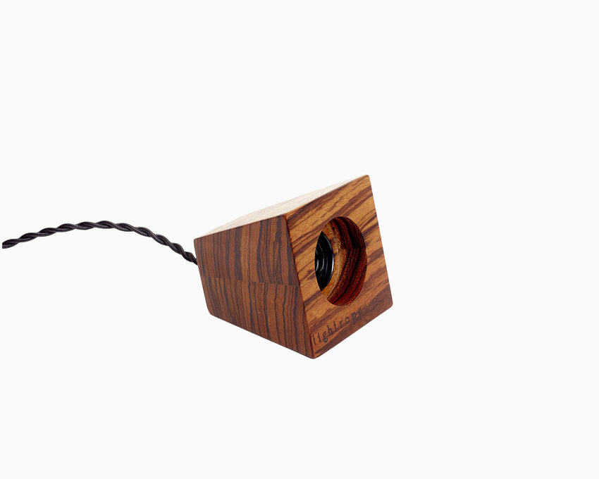 Blok Pendant Zebrawood with Black Cord