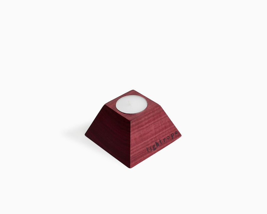 Wooden Tea Candle Holder Purpleheart Square