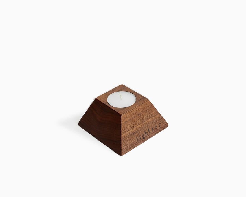 Wooden Tea Candle Holder Walnut Square