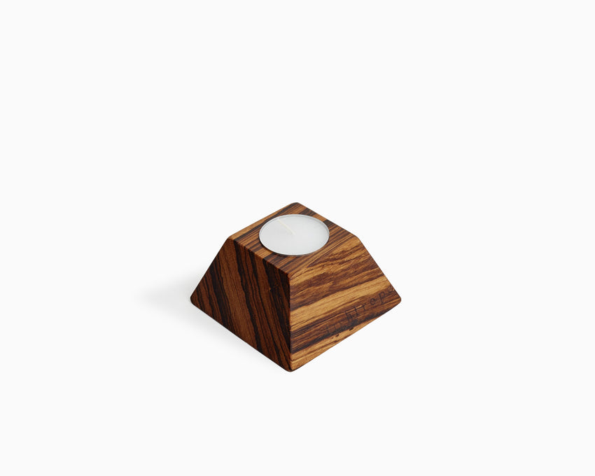 Wooden Tea Candle Holder Zebrawood Square