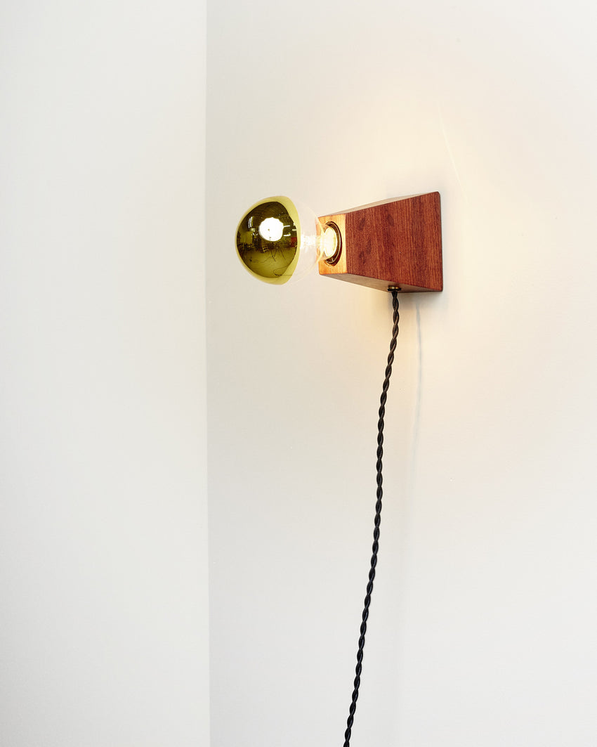 Rook Sconce Bubinga with Black Cord