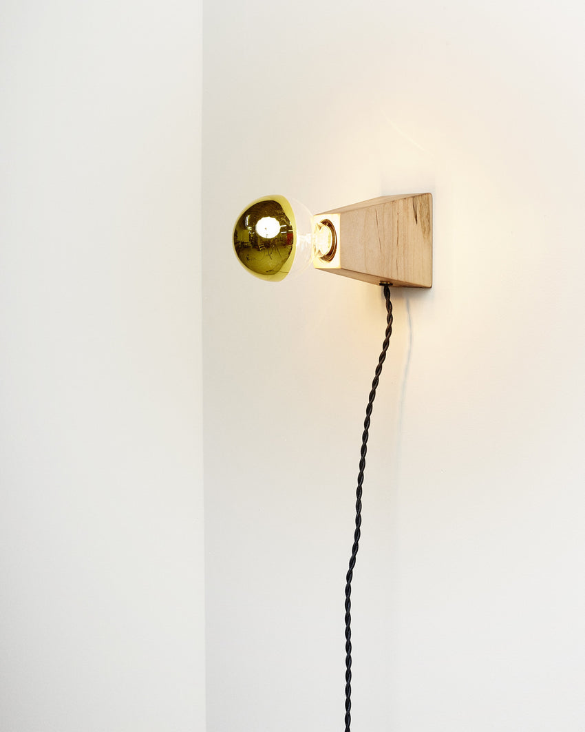 Rook Sconce Maple With Black Cord