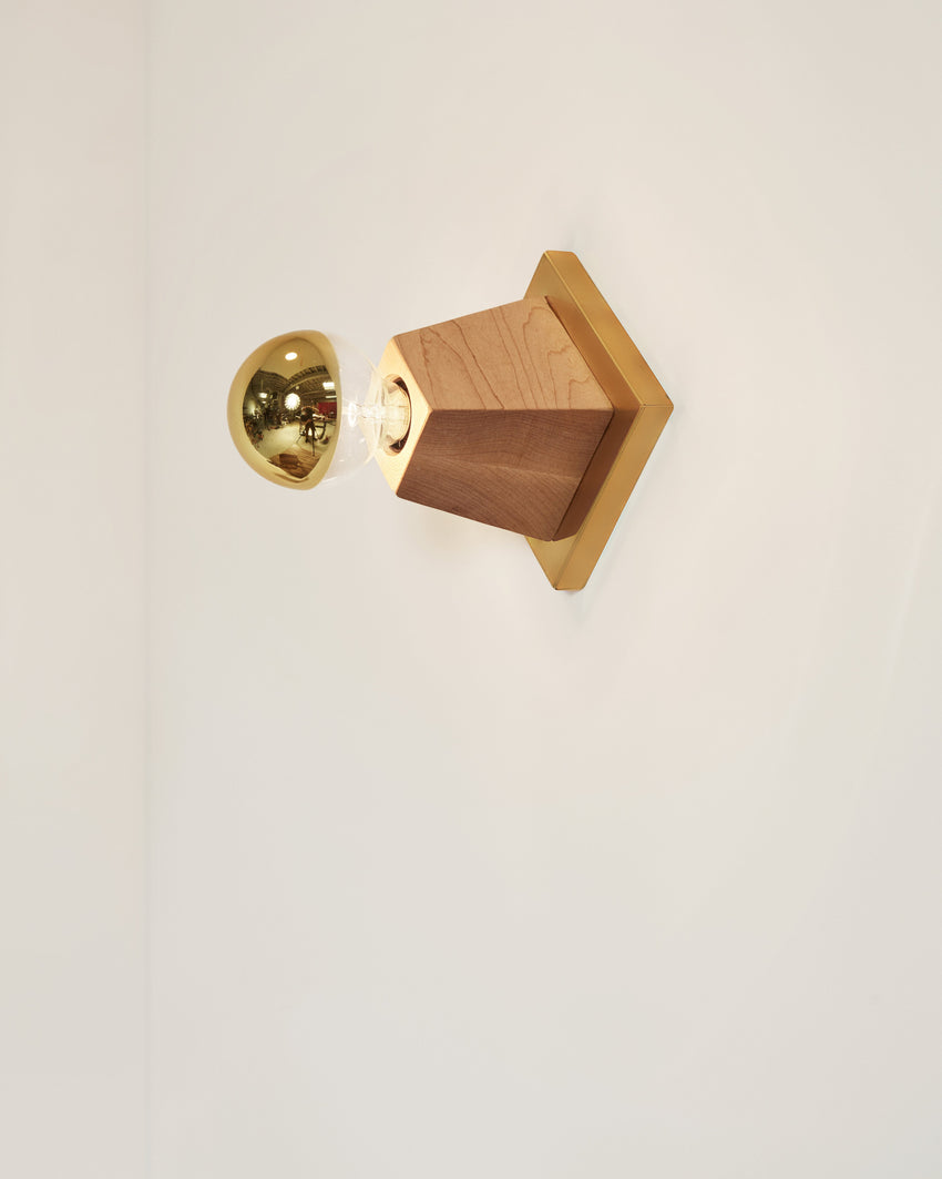 Rook Sconce Maple with Brass Backplate