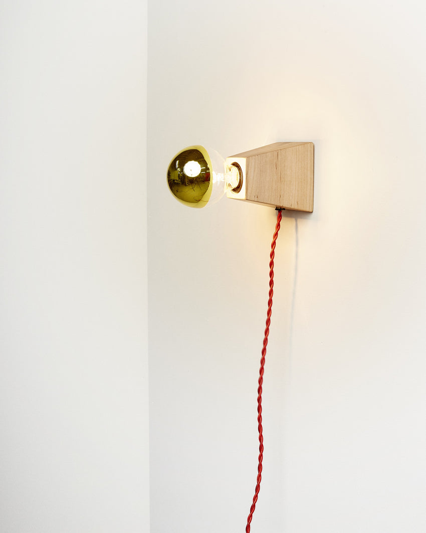 Rook Sconce Maple with Red Cord