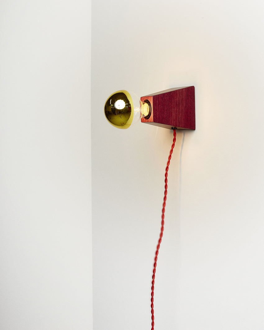 Rook Sconce Purpleheart with Red Cord
