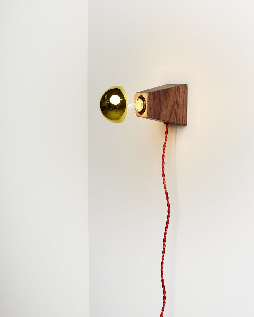 Rook Sconce Walnut with Red Cord