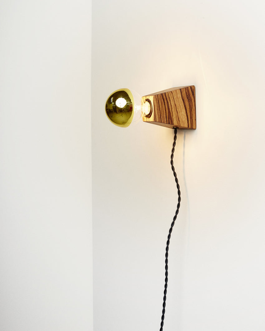 Rook Sconce Zebrawood with Black Cord