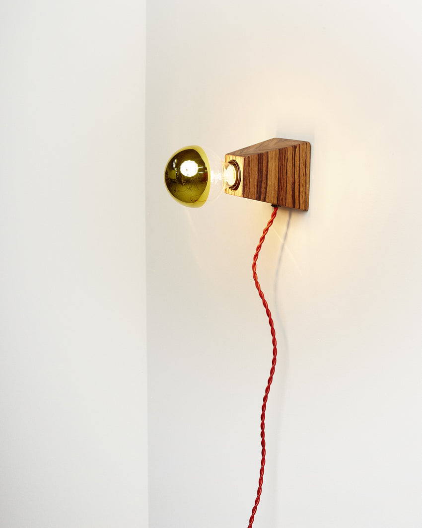 Rook Sconce Zebrawood with Red Cord