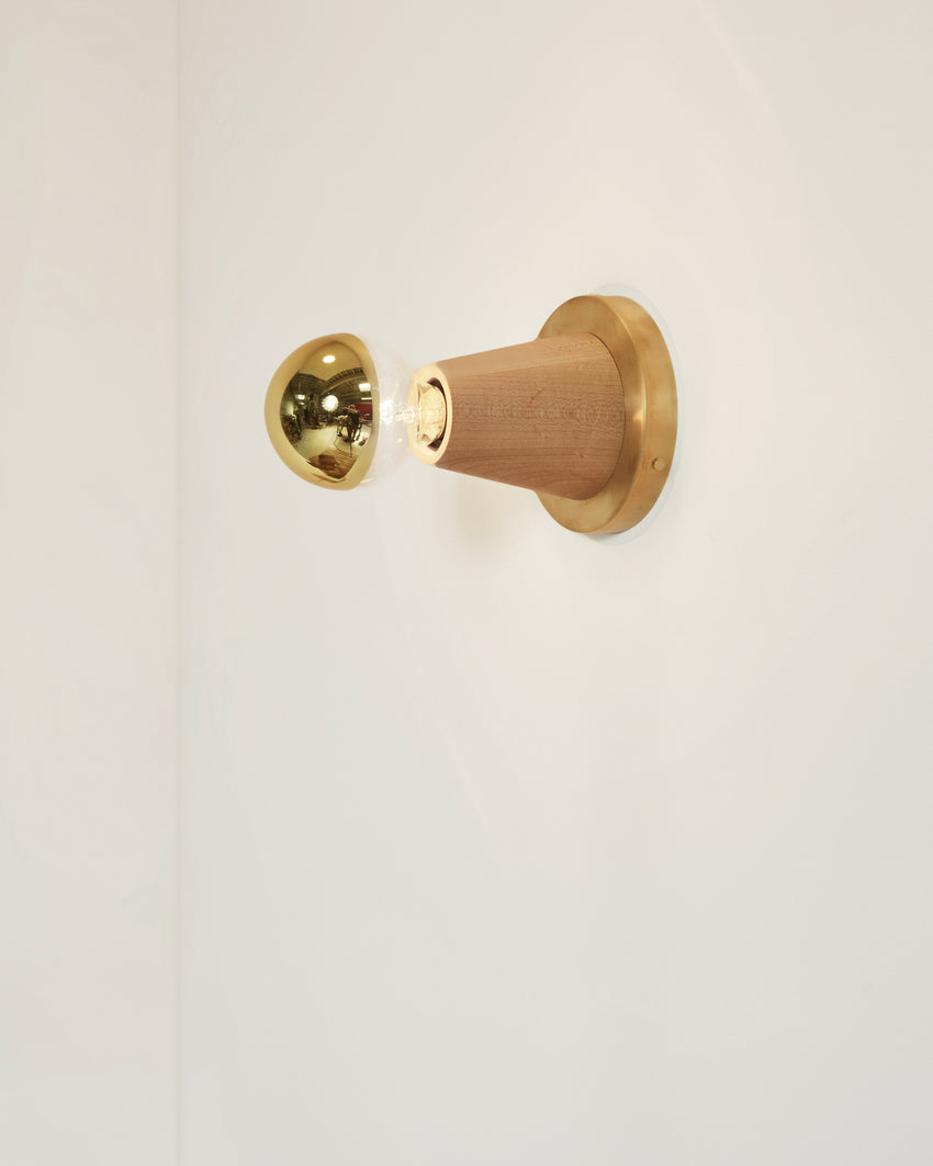 Scape Sconce Maple with Brass Backplate