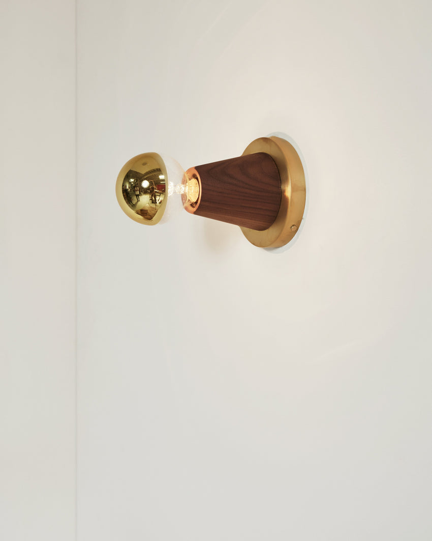 Scape Sconce Walnut with Brass Backplate