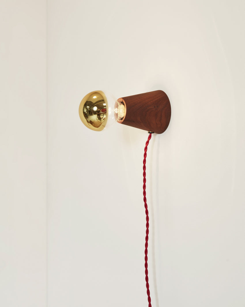 Scape Sconce Walnut with Red Cord