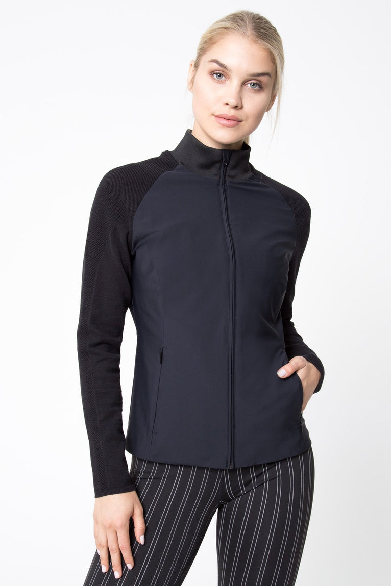 Amazon Mixed Media Zip Front Jacket