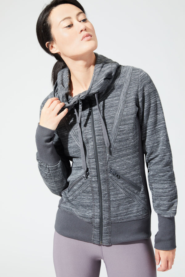 MPG Sport's clearance warehouse women's Valencia 3.0 Heathered Hoodie in Htr Charcoal Grey