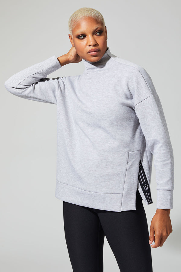 MPG Sport's clearance warehouse women's Expressive Oversized Pullover in Htr Concrete Grey