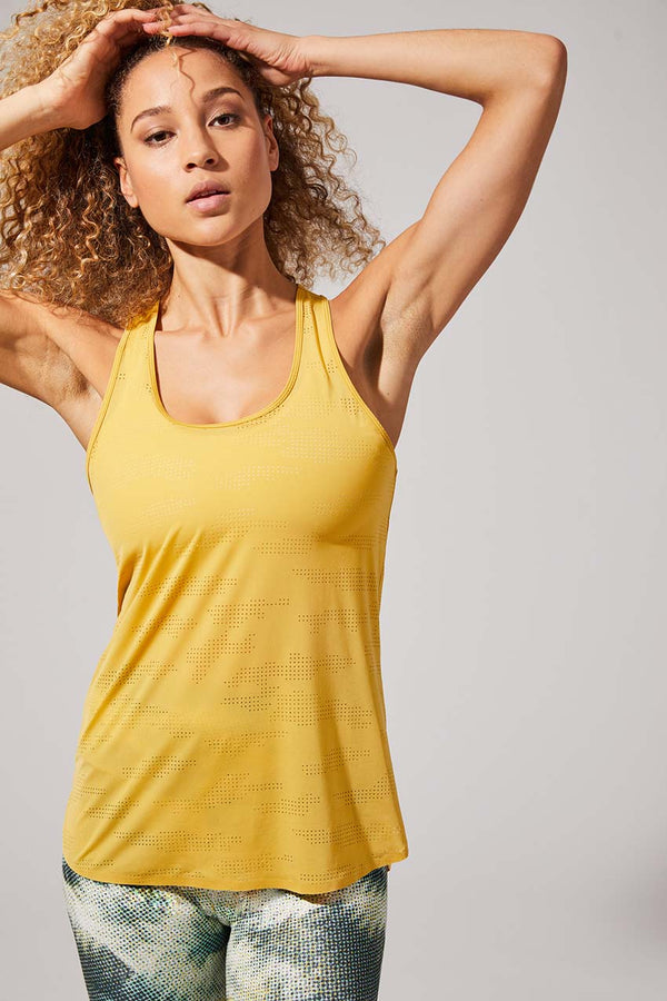 MPG Sport women's Evolution Perforated Tank in Mustard