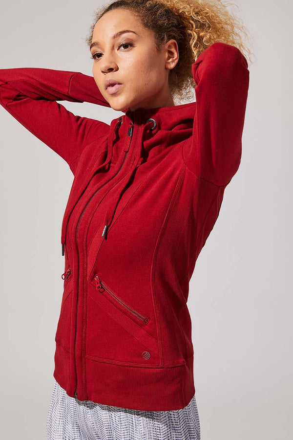 MPG Sport women's Valencia 3.0 Recycled Organic Cotton Hoodie in Currant