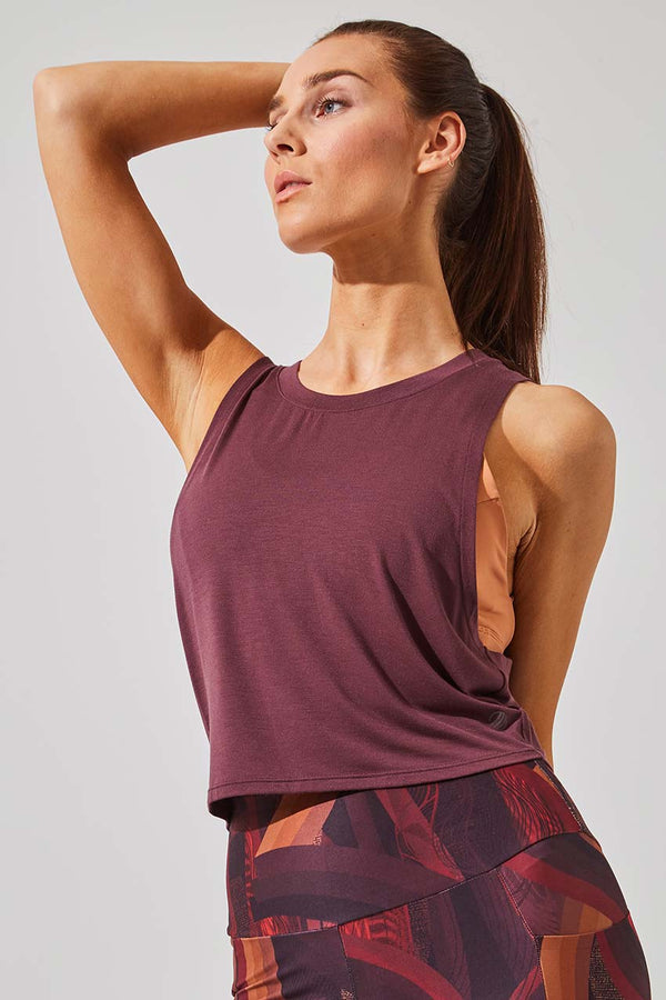 MPG Sport women's Avid Natural Modal Cropped Tank - Sale in Chocolate Berry