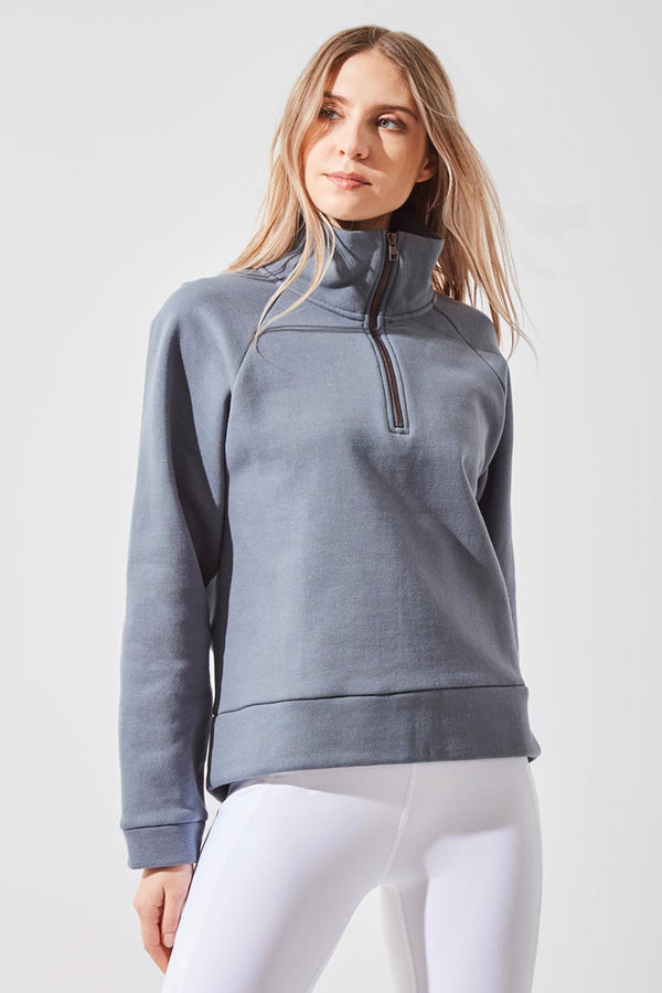 MPG Sport women's Beckon 1/4 Zip Cropped Sweatshirt in Stormy Blue