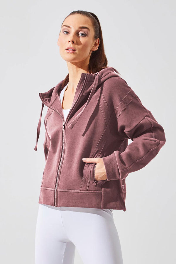 MPG Sport women's Aspire Recycled Organic Cotton Cropped Hoodie in Praline