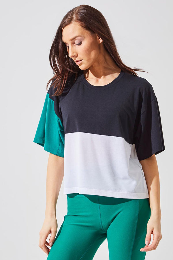 MPG Sport women's Refresh Recycled Polyester Oversized Cropped T-Shirt in Black/Simply White/Green