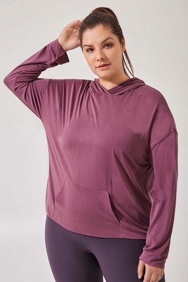 MPG Sport women's Revel Natural Modal Hooded Sweatshirt - Plus in Dusty Rose