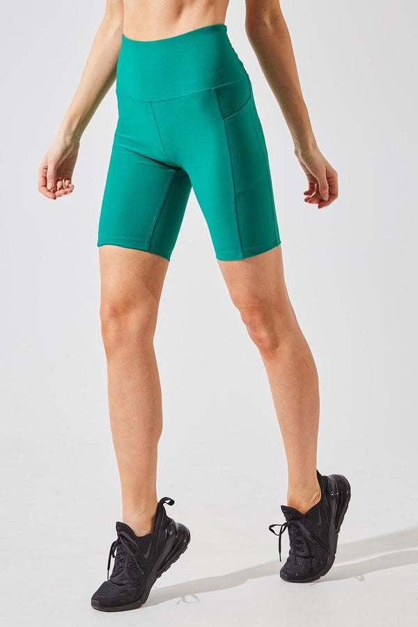MPG Sport women's Brisk High Waisted Recycled Polyester Biker Short in Green