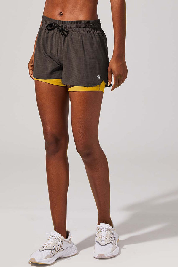"MPG Sport women's High Speed 2"" Recycled Polyester Short with Liner in Burnt Olive"