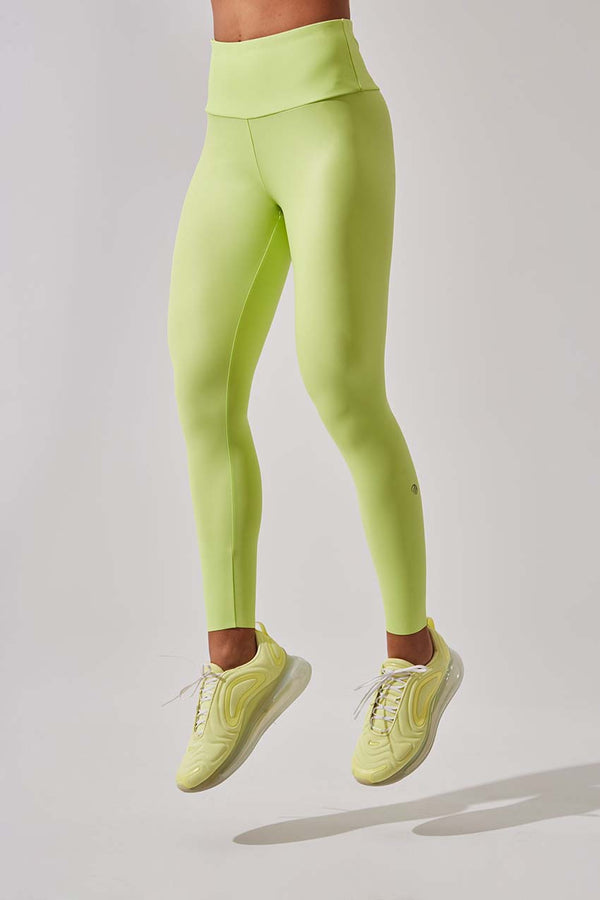 MPG Sport women's Strive High Waisted Recycled Polyester 7/8-Length Legging in Neo Lime Metal