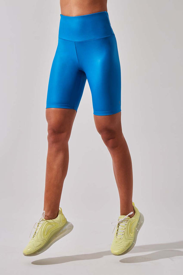 "MPG Sport women's Push 8"" High Waisted Recycled Polyester Bike Short in Electric Blue Metal"