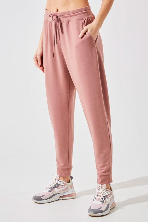 MPG Sport women's Recruit Recycled Polyester Luxe Sweatpants in Patina Pink